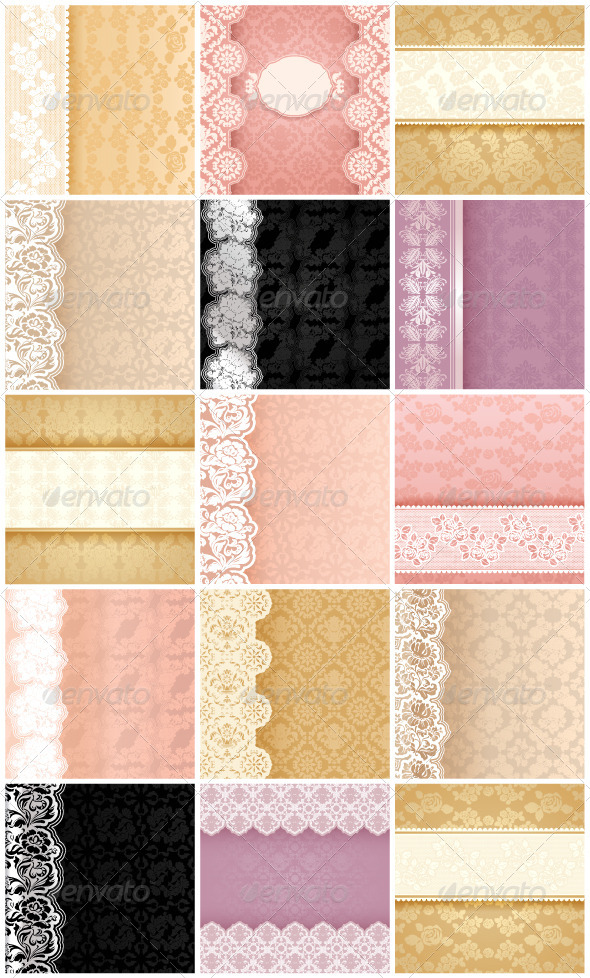 GraphicRiver 15 Floral Backgrounds with Ornament and Lace 4809870