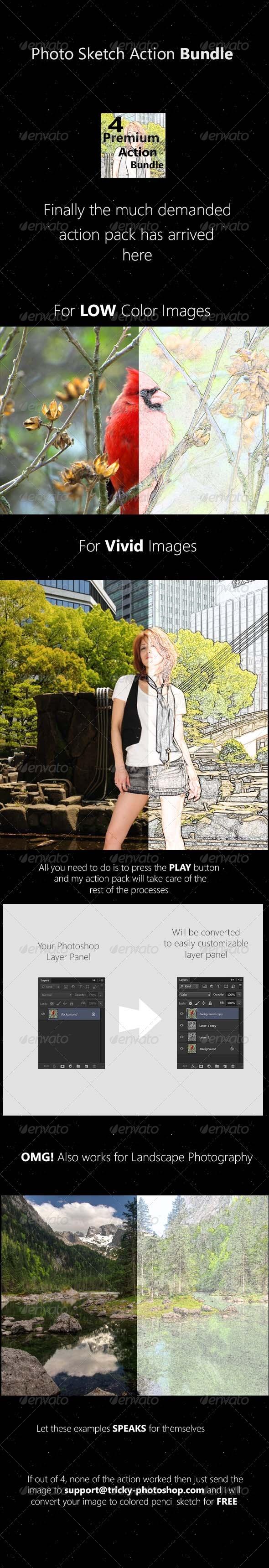 GraphicRiver 4 Premium Colored Pencil Sketch Photoshop Action 4810278