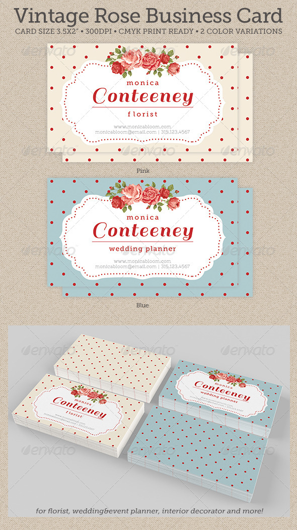 GraphicRiver Vintage Rose Business Card 4810507