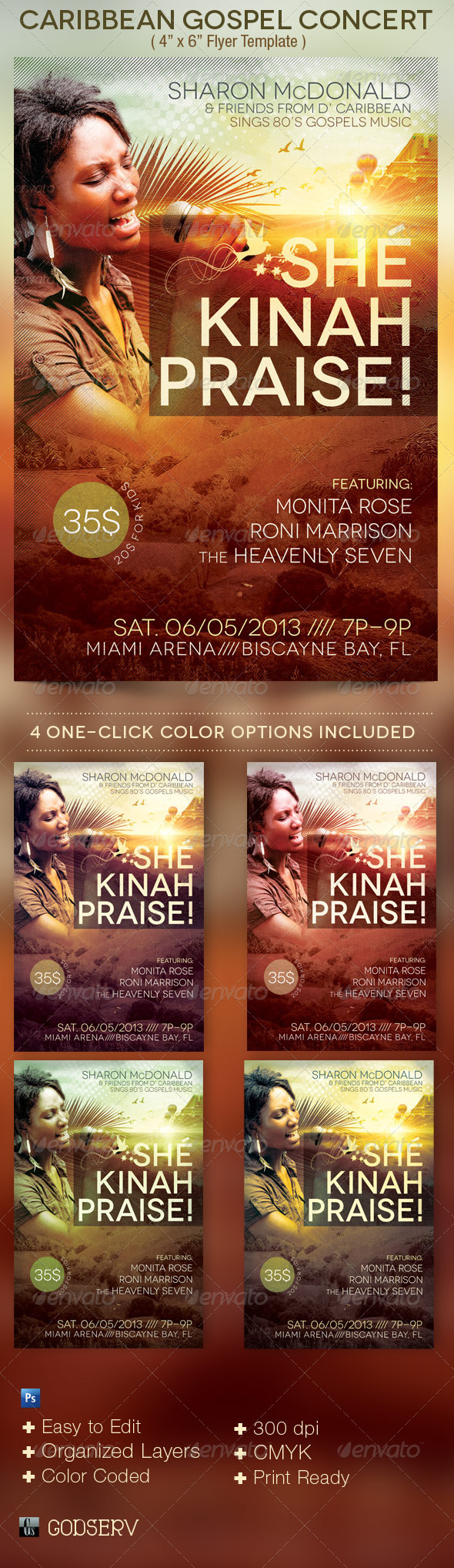 Caribbean Gospel Concert Flyer Template - Church Flyers