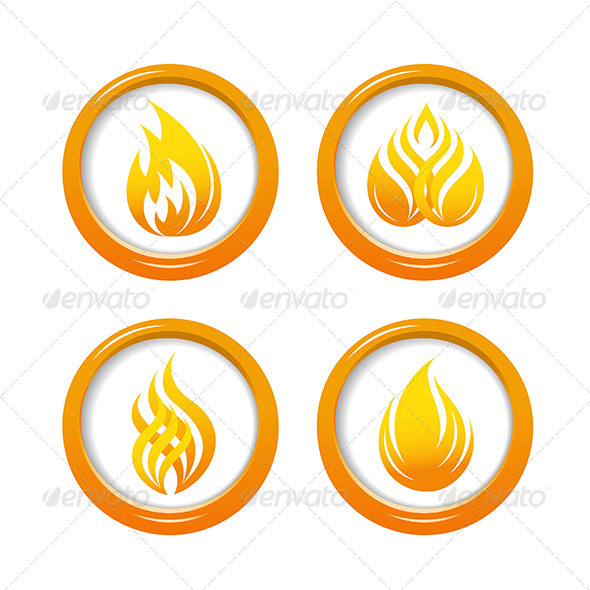 Fire Web Buttons Set