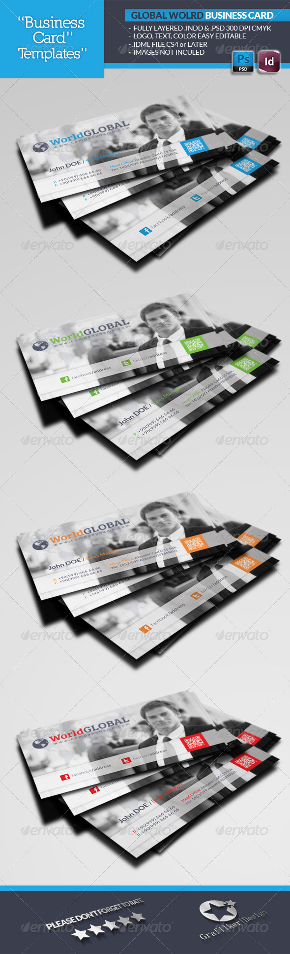 GraphicRiver Global World Business Card Template 4811602