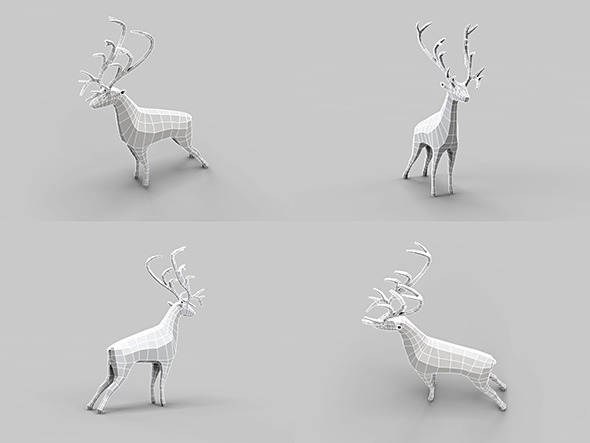 3DOcean Low Poly Mesh Old Deer 4763277