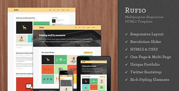 ThemeForest Rufio 2 in 1 Responsive HTML5 Template 4812726