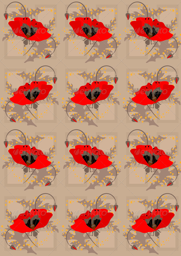 Red Poppies a Light Brown  Seamless Background - Stock Photo - Images