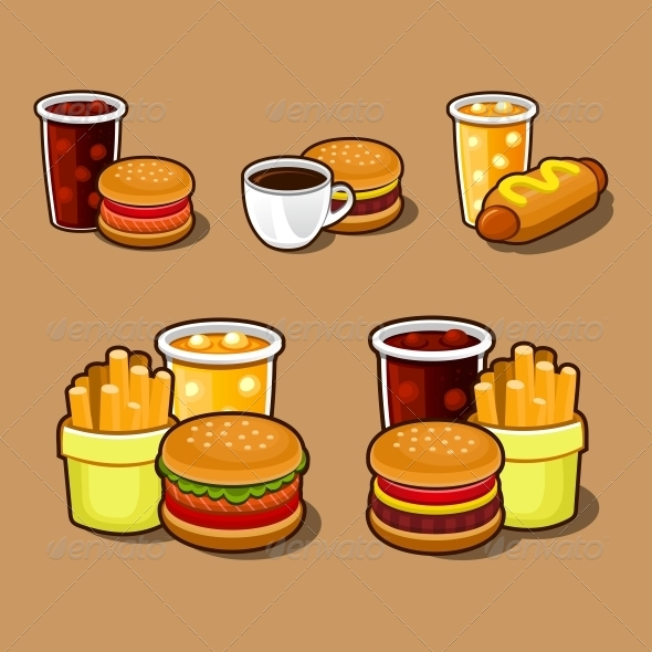 GraphicRiver Set of Colorful Cartoon Fast Food Icons 4813943