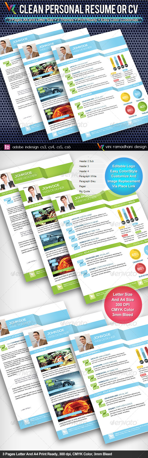 GraphicRiver Clean Resume And CV 4814226