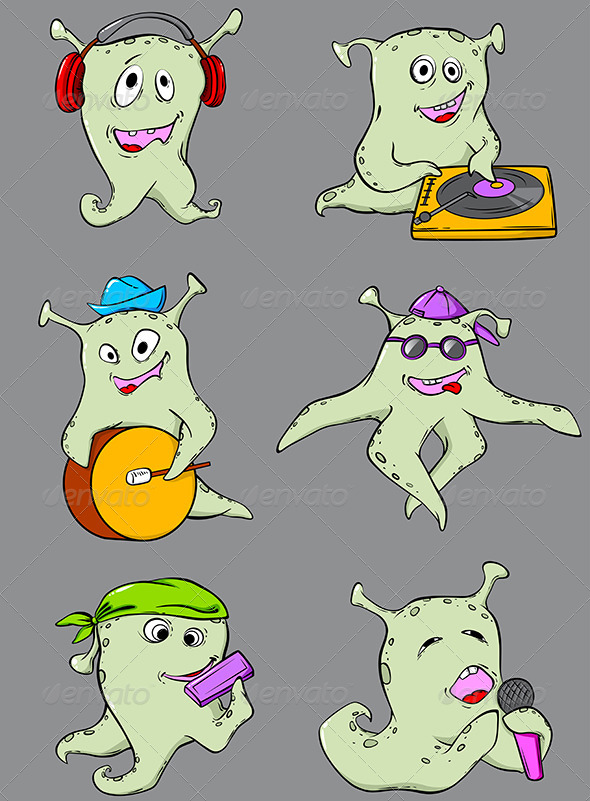 GraphicRiver Cartoon Aliens Musicians 4815195
