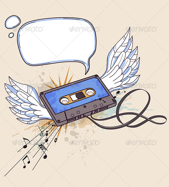 GraphicRiver Audio Cassette and Wings 4815257