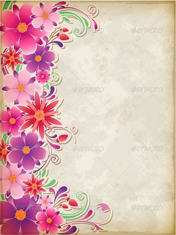 GraphicRiver Pink Floral Background 4815290