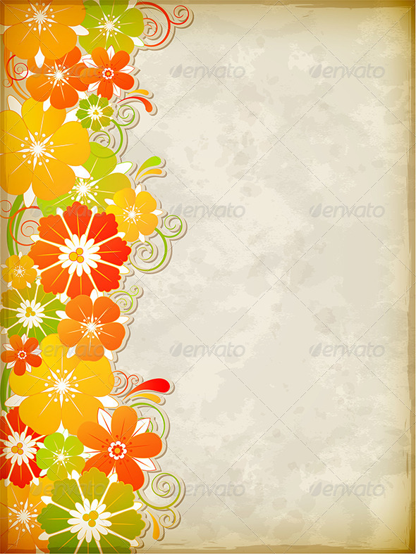 GraphicRiver Yellow Floral Background 4815341