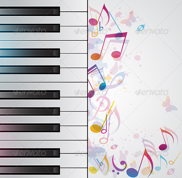 GraphicRiver Music Abstract Background with Piano 4815356