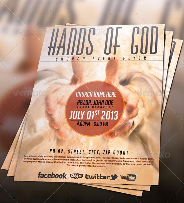 Hands of God Church Flyer - Church Flyers