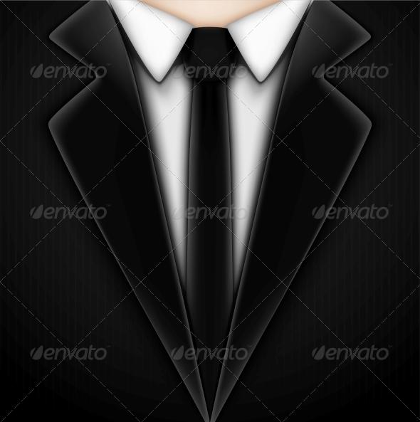 GraphicRiver Black Tuxedo with Tie 4817372