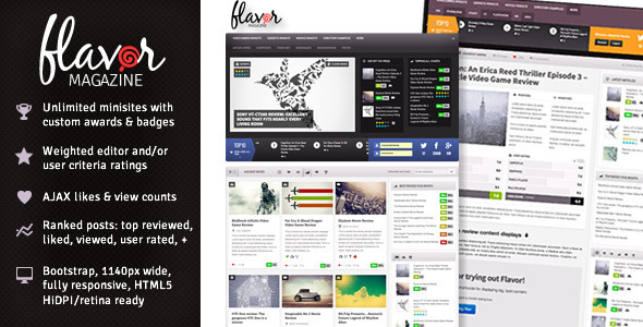ThemeForest Flavor Responsive HD Magazine Review AJAX Theme 4817769