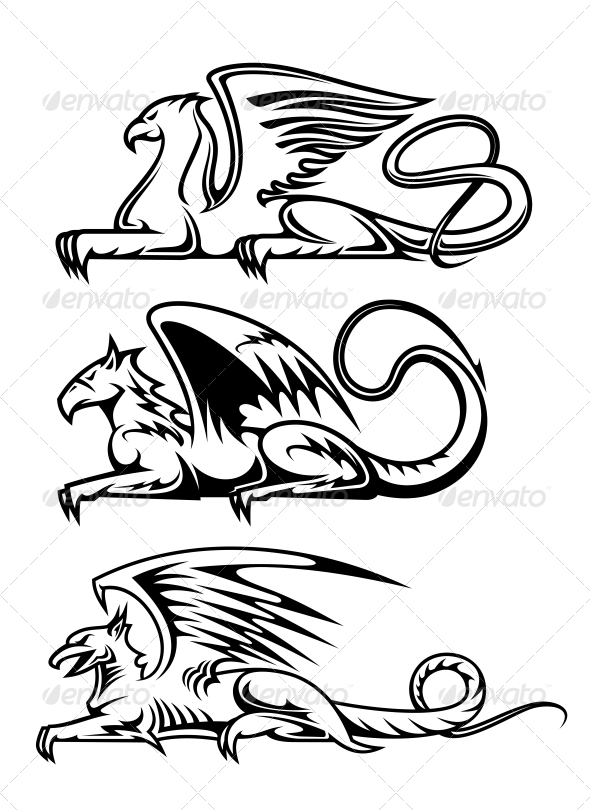 GraphicRiver Medieval Gryphons Set 4818480