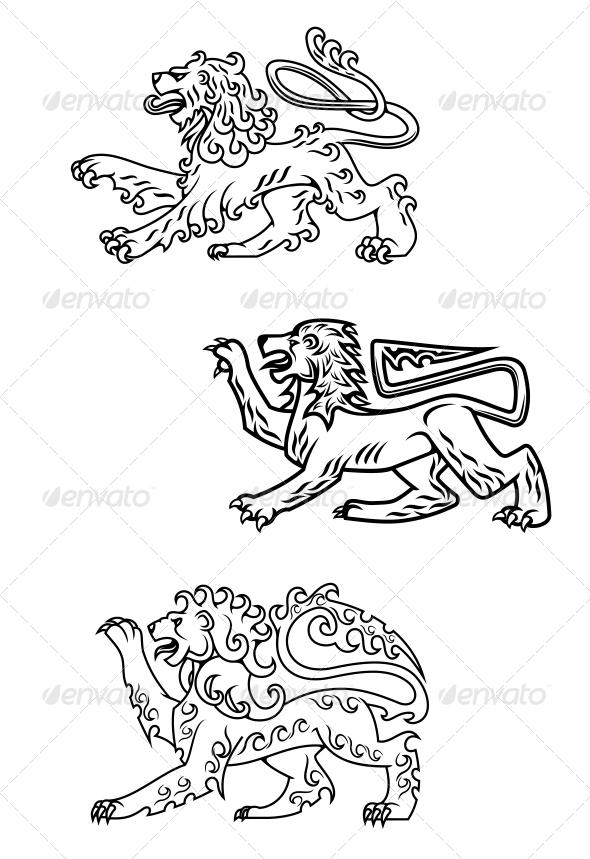 GraphicRiver Vintage Healdic Lions Set 4818484