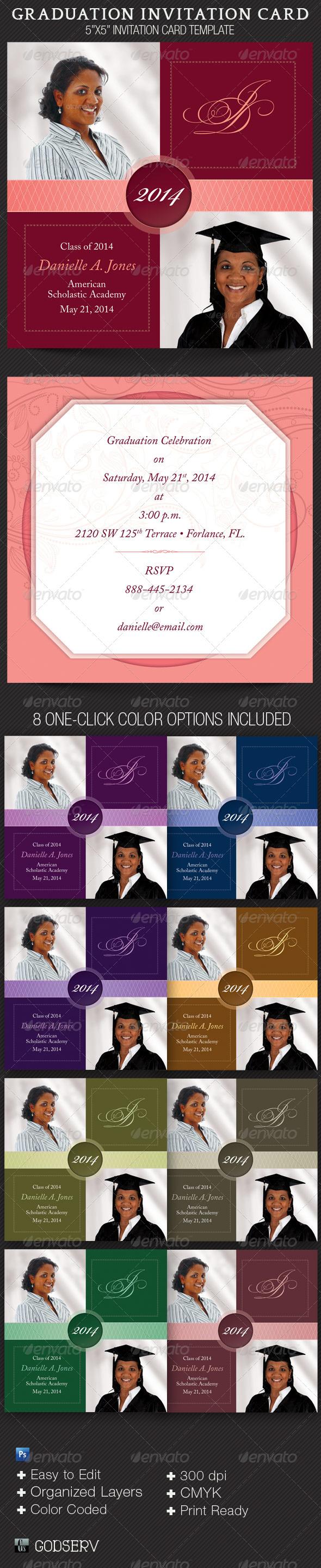 GraphicRiver Graduation Invitation Card Template 4818751