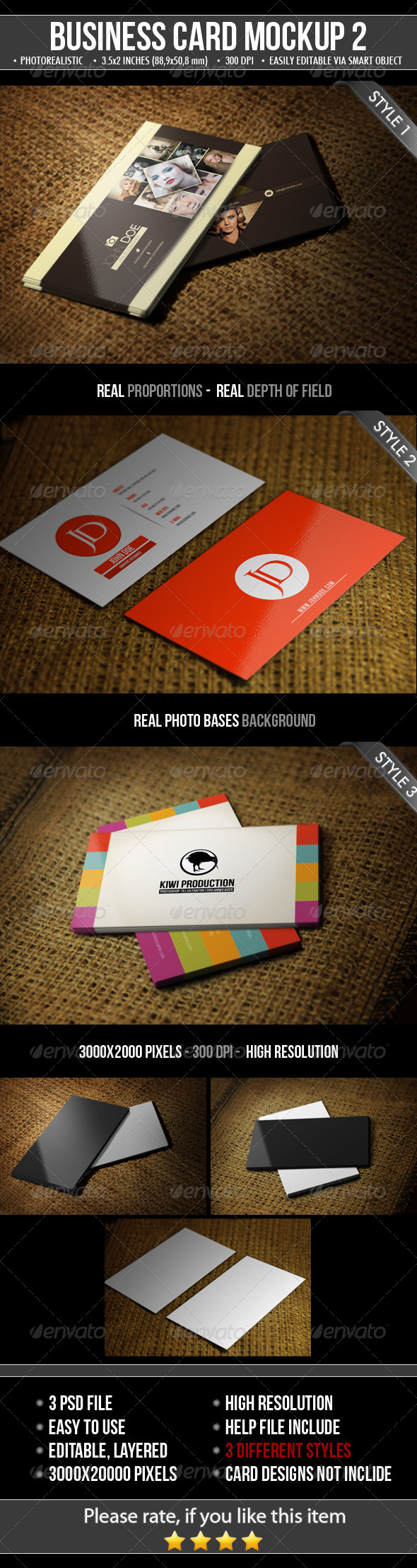 GraphicRiver 3 Realistic Business Card Mock-Up 4818834