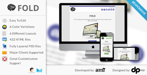 FOLD - Responsive Email Template - Newsletters Email Templates