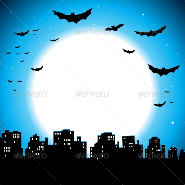 GraphicRiver City Halloween Background 4819255