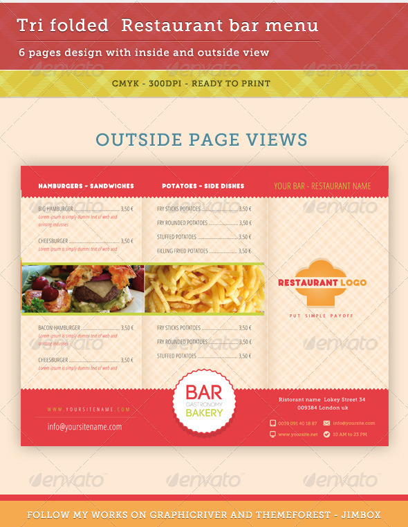 Bar, Restaurant Menu V2 - Food Menus Print Templates