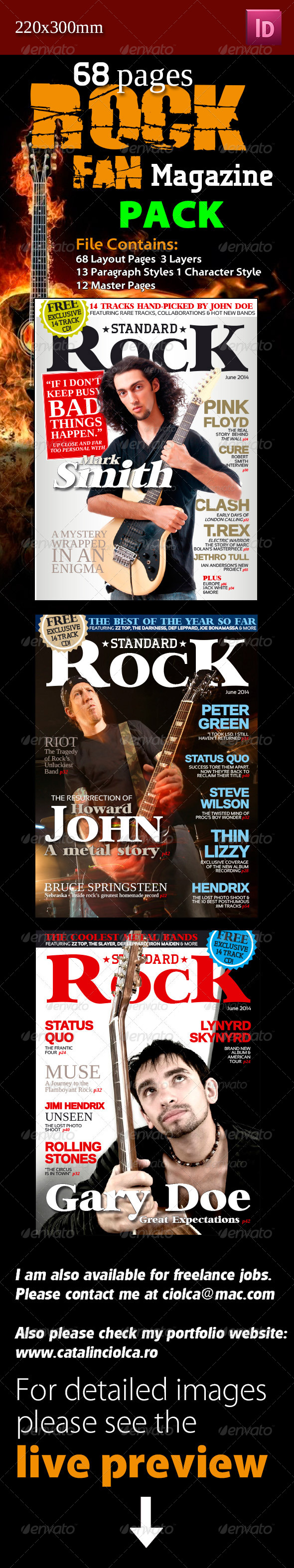 GraphicRiver 68 Pages Rock Fan Magazine Pack 4819346