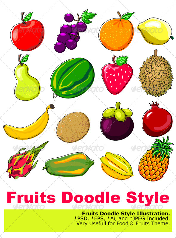 GraphicRiver Fresh Fruits Doodle Style 4819529