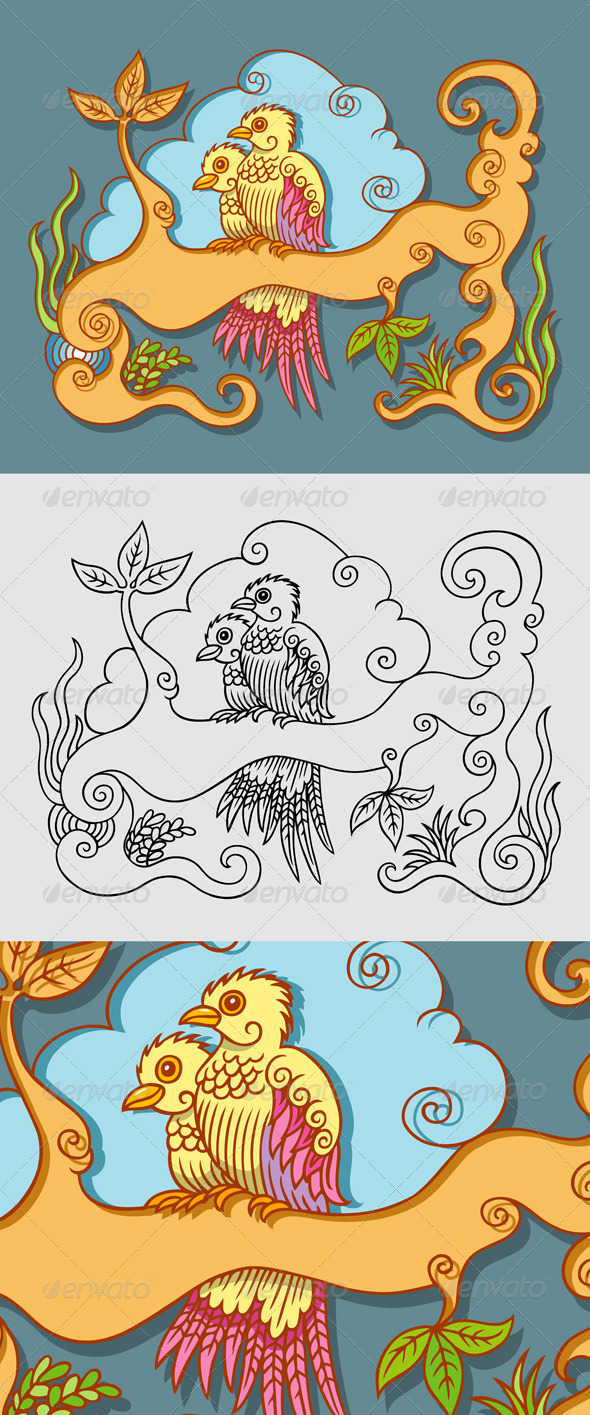 GraphicRiver Two Birds Decorative 4819710