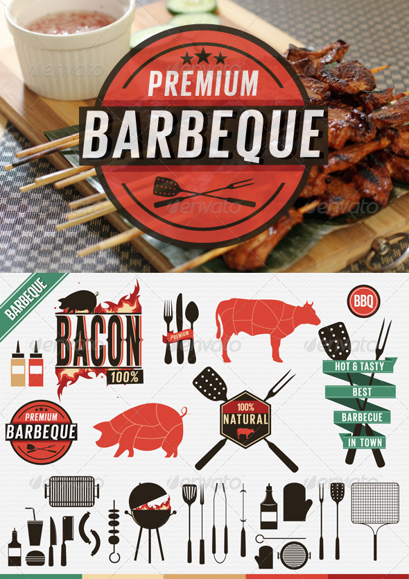 GraphicRiver Barbecue Vintage Labels Grill Icons 4819886