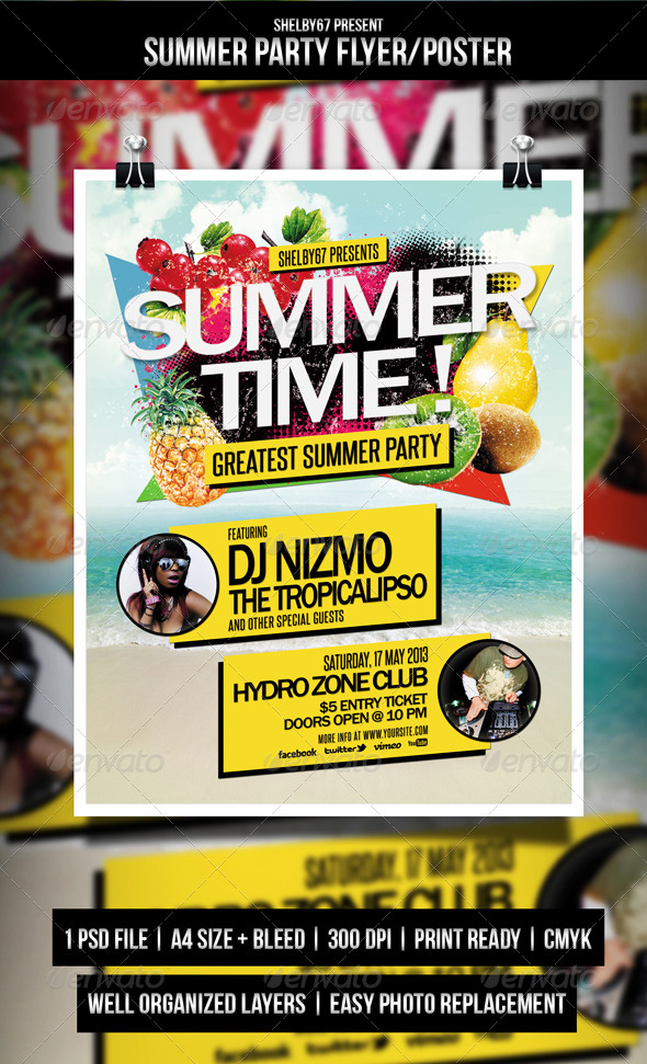 GraphicRiver Summer Party Flyer Poster 4643544
