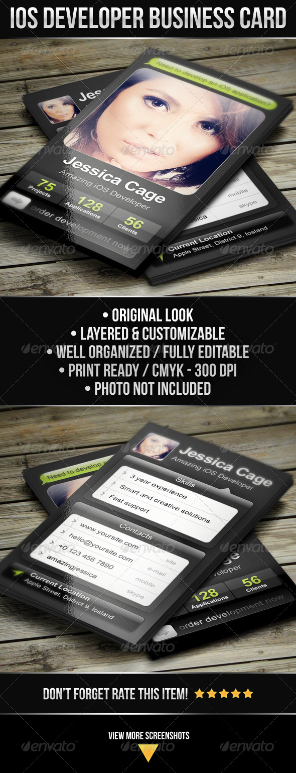 GraphicRiver iOS Developer Business Card 4820939