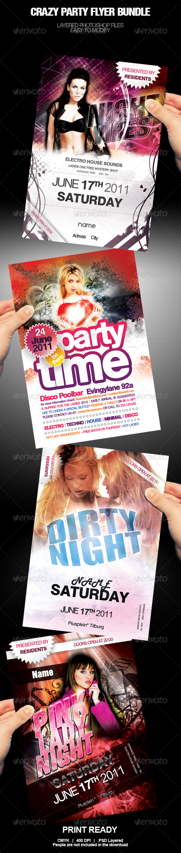 GraphicRiver Crazy Party Flyer Bundle 500907