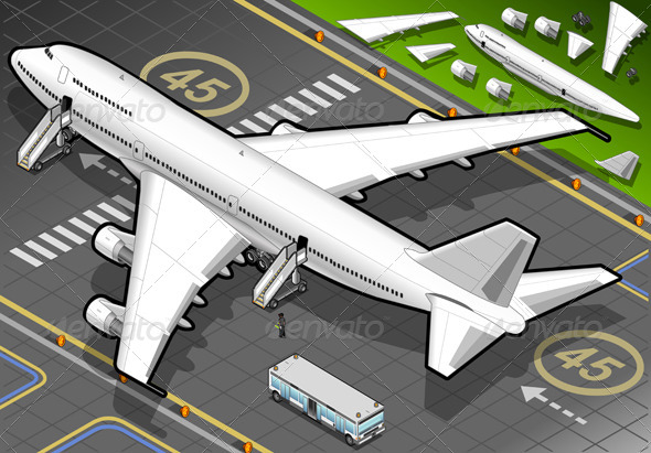 GraphicRiver Isometric White Airplane in Rear View 4821253