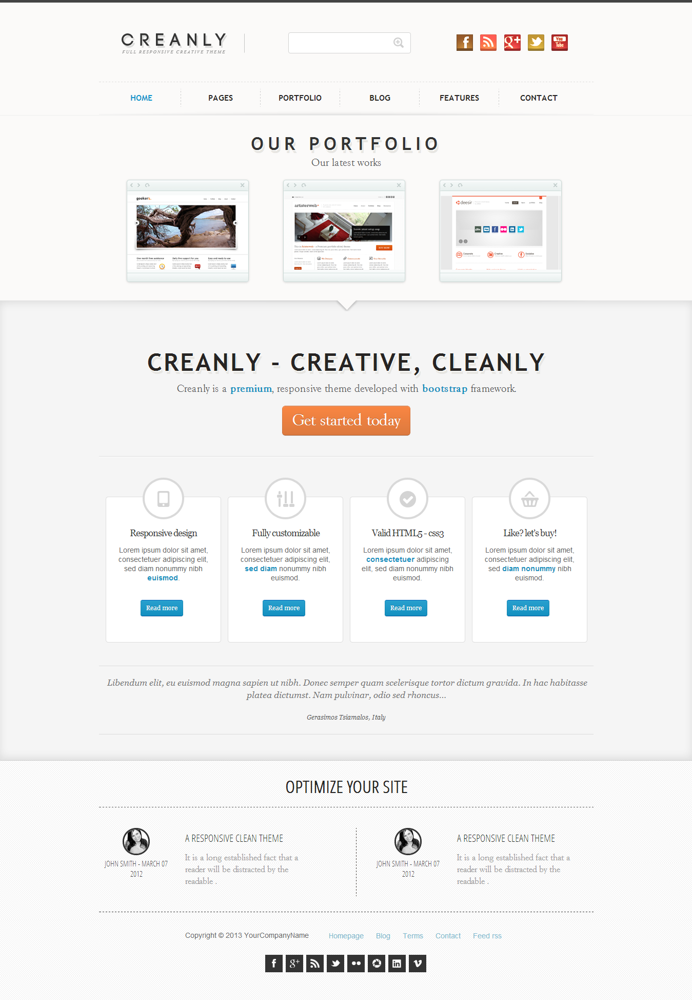 Creanly - Responsive clean theme design - This is the collective design of that theme reprising the intere layout homepage