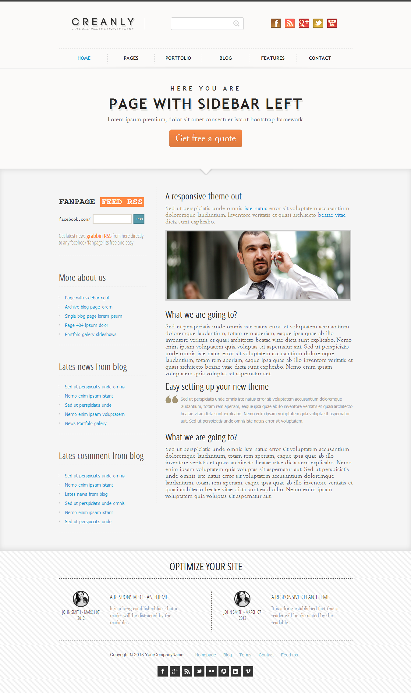 Creanly - Responsive clean theme design - This is a two column page, showing the sidebar to the left content.