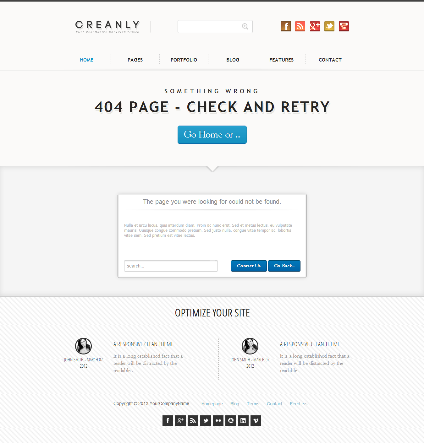 Creanly - Responsive clean theme design - This is a simple 404 error page wich include a descriptive and personalizable box, with search, contact and go-back option