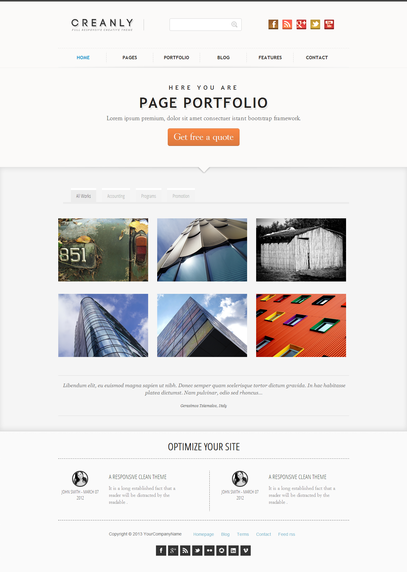 Creanly - Responsive clean theme design - This is a first version of the two portfolio available on crealy theme