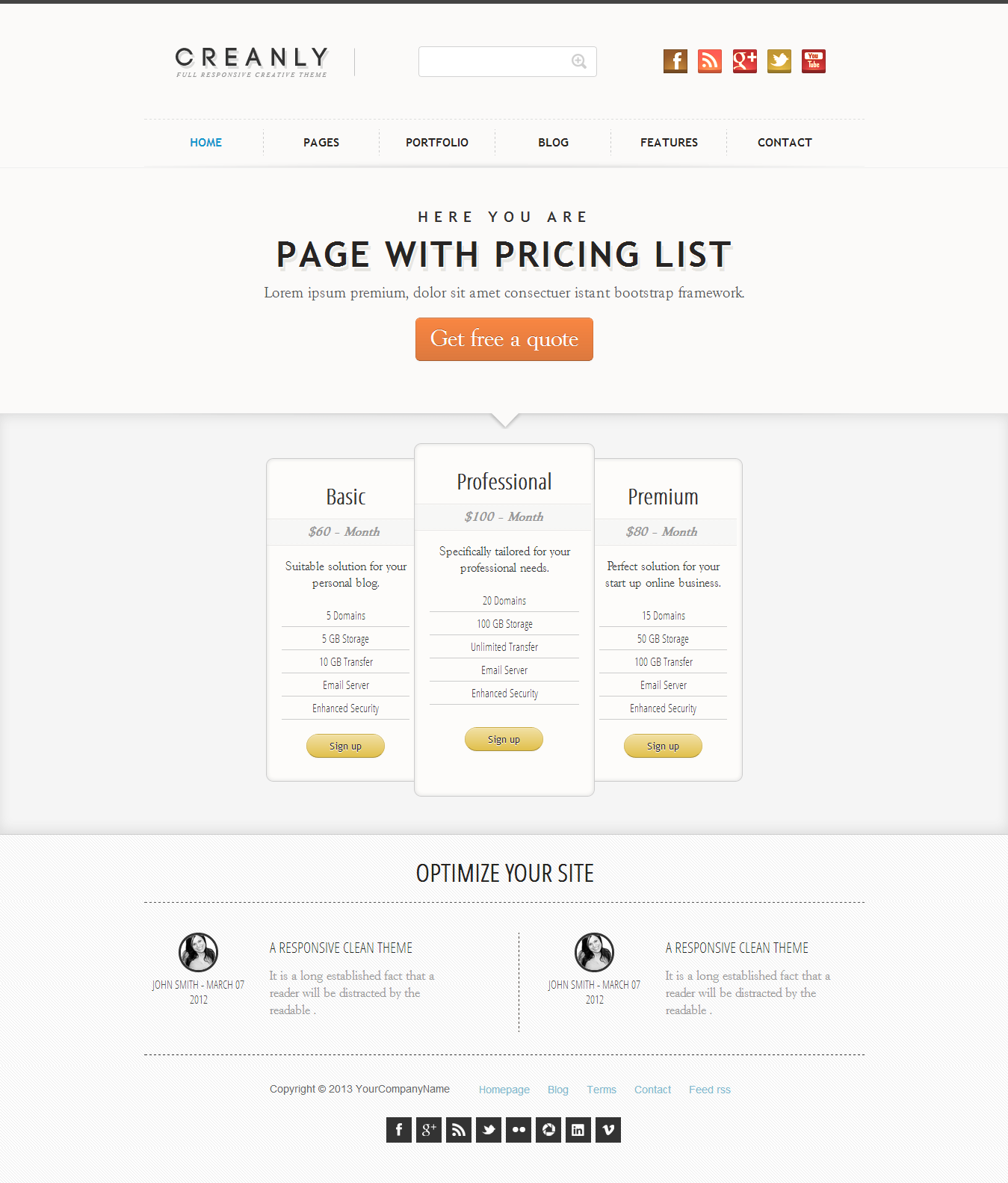 Creanly - Responsive clean theme design - This page show 3 personalizable pricing boxes