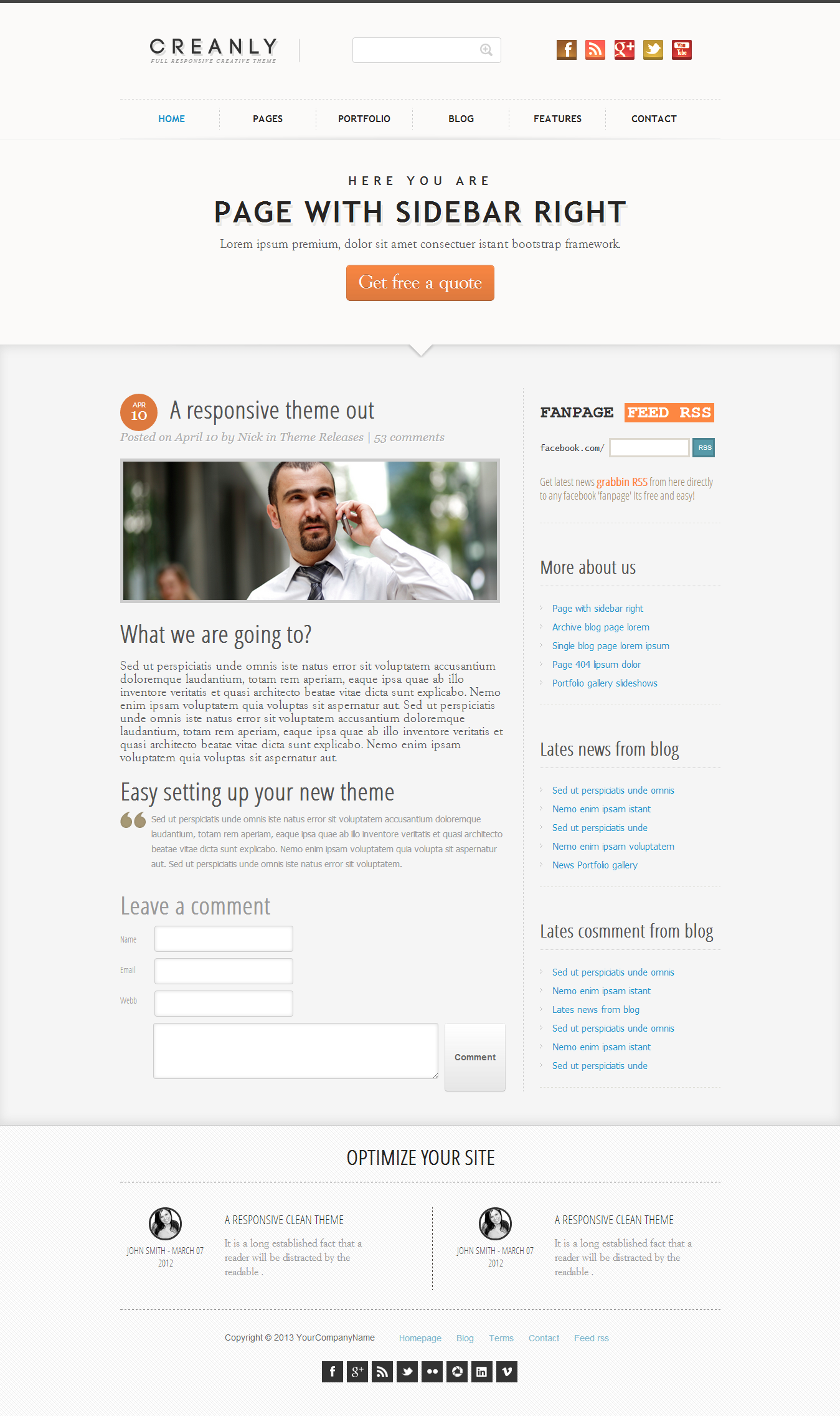 Creanly - Responsive clean theme design - This is the single blog page listing the article with date, resource, comment...