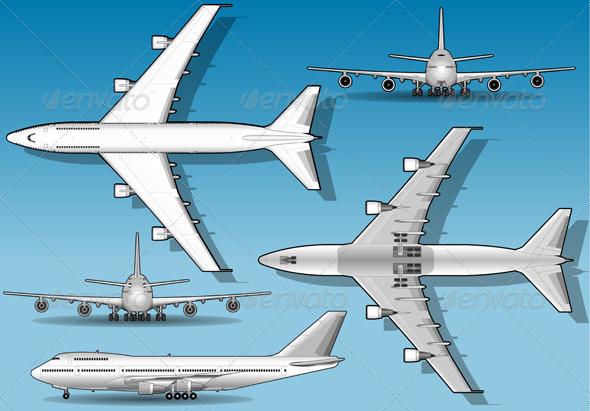GraphicRiver White Plane in Five Positions 4821530