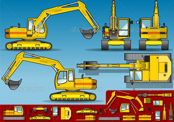 GraphicRiver Yellow Excavator in Five Orthogonal Position 4821535