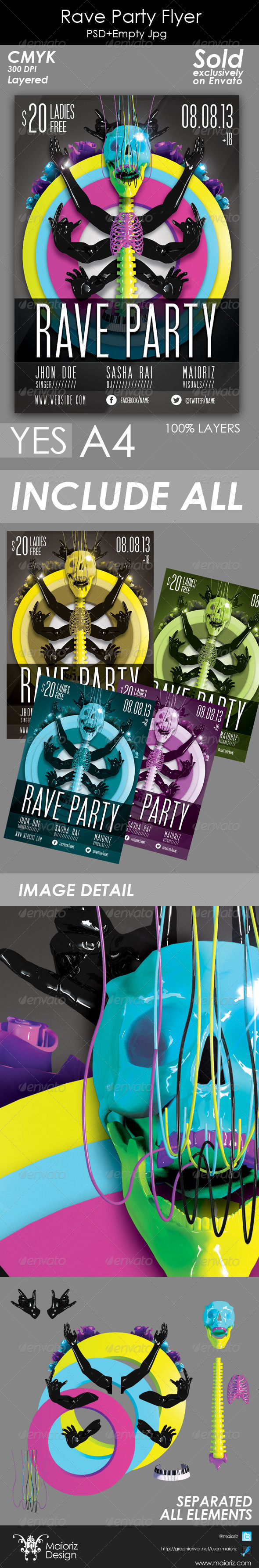GraphicRiver Rave Party Flyer 4822272