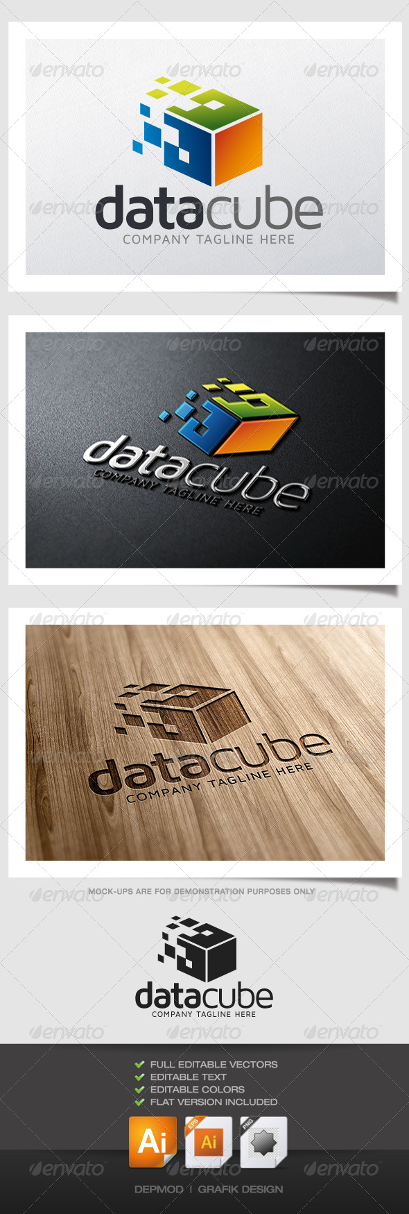 Data Cube Logo - Abstract Logo Templates