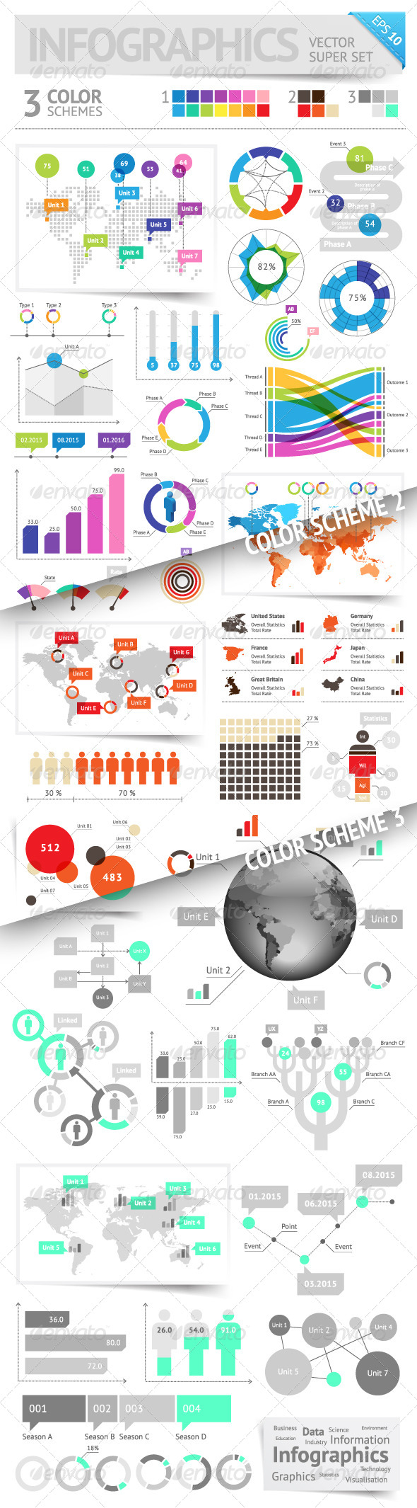 GraphicRiver Infographic Design Elements 3 Color Schemes 4822523