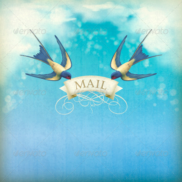 GraphicRiver Swallows Mail Vintage Postcard 4822530