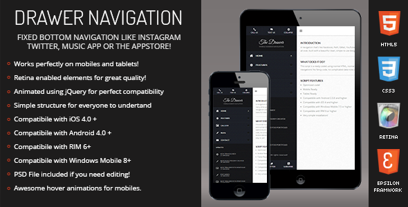 CodeCanyon Drawer Sidebar Navigation for Mobiles & Tablets 4822620