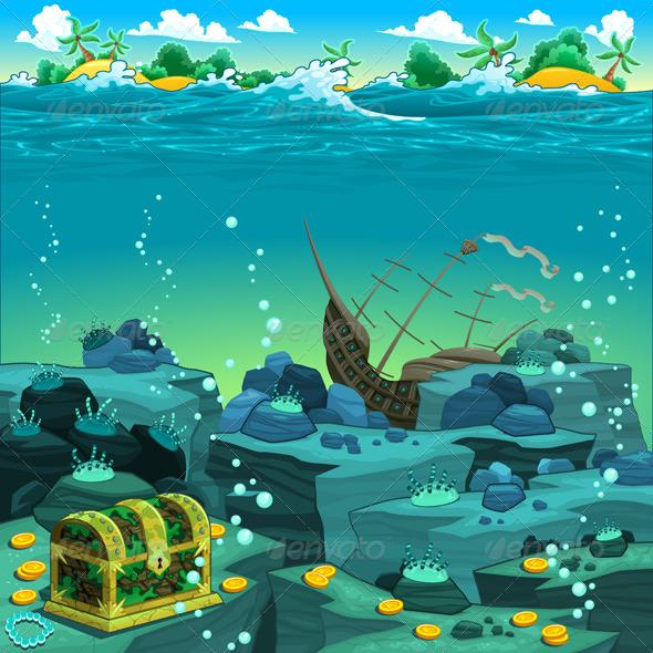 GraphicRiver Seascape with Treasure and Galleon 4822651