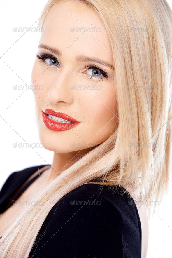 Close up of cute blond sexy woman - Stock Photo - Images