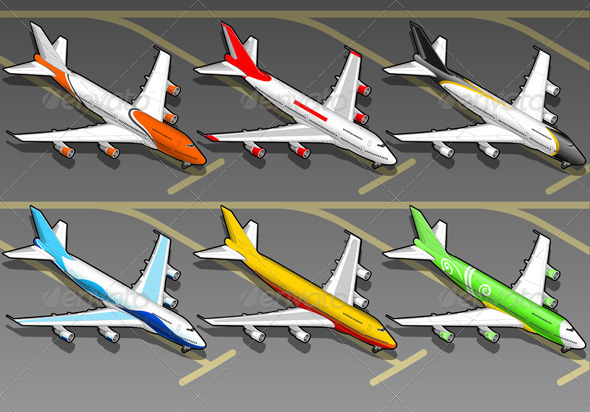 GraphicRiver Six Isometric Airplanes in Front View 4823100